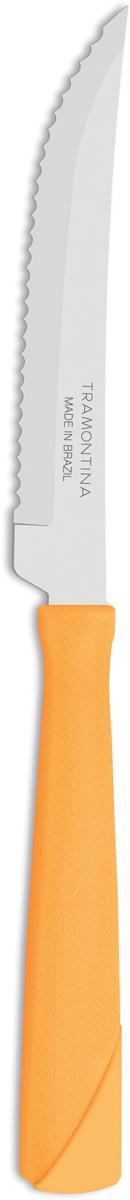 Набор ножей Tramontina New Kolor, цвет: оранжевый, длина лезвия 10 см, 3 предмета23160/344-TRБлагодаря уникальному методу закалки в несколько этапов: - термическая закалка от + 850°C до + 1 060°C;- охлаждение системой вентиляции до +350°C;- промораживание при -80°C в течение 30 минут;- нагревание газом от +250°C до +310°Cсталь приобретает особую пластичность, коррозийно и жаростойкость, сохраняя твердость порядка 53 единиц по шкале Роквелла. Как результат, ножи TRAMONTINA требуют более редкой правки и заточки, что обеспечивает более долгий срок службы по сравнению с ножами из аналогичной стали других производителей. Волнистое острие лезвия ножа не потребует постоянной заточки и даст возможность быстро и качественно порезать продукты, даже такие, как помидоры - с мягкой сердцевиной и твердой кожицей.Рукоятки серии New Kolor выполнены из полипропилена, долговечны, выдерживают температуру до 130°C. Гарантия от производственного брака на ножи серии New Kolor 3 года!Материал лезвия: нержавеющая сталь AISI 420 Материал рукоятки: полипропилен Длина лезвия: 10 см Количество ножей: 3 шт Страна производства: Бразилия