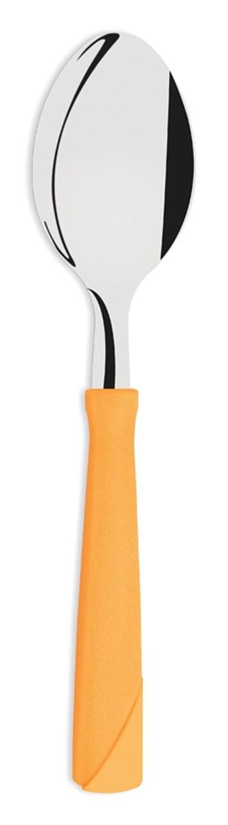 Набор столовых ложек Tramontina New Kolor, цвет: оранжевый, 3 шт. 23163/340-TR23163/340-TRСтоловые ложки Tramontina New Kolor изготовлены из высококачественной нержавеющей стали AISI 420.Благодаря уникальному методу закалки в несколько этапов (термическая закалка, охлаждение, промораживание, нагревание газом) сталь приобретает особую пластичность, коррозийно и жаростойкость, сохраняя твердость порядка 53 единиц по шкале Роквелла. Как результат обеспечивается более долгий срок службы по сравнению с изделиями из аналогичной стали других производителей.Толстая сталь и усиленное крепление рукоятки заклепками гарантируют сохранность в течение многих лет.При производстве особое внимание уделяется окончательной обработке, что предохраняет от риска пораниться о края изделия.Ложки с симметричной чашей и тщательно закругленными краями для более комфортного использования.Рукоятки серии New Kolor выполнены из полипропилена, долговечны, выдерживают температуру до 130?C. Гарантия от производственного брака на ножи серии New Kolor 3 года!Материал: нержавеющая сталь AISI 420Материал рукоятки: полипропиленКоличество ложек: 3 штТолщина стали: 1 ммМожно мыть в посудомоечной машине: даСтрана производства: Бразилия