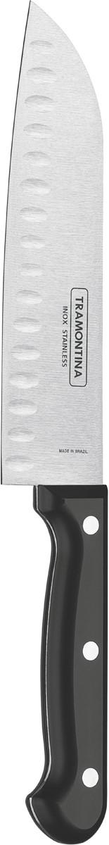 Нож сантоку Tramontina Ultracorte, цвет: черный, длина лезвия 17,5 см
