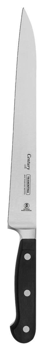 Процесс производства ножей Century состоит из 37 этапов, включая уникальный метод закалки в несколько этапов и ковку стали в штампах: - Заготовка из высокоуглеродистой нержавеющей стали DIN1.4110 с добавлением молибдена - Ковка в штампе и формирование шейки ножа - Закаливание в специальной печи (примерно + 1.060°C)  - Охлаждение системой вентиляции до +350°C - Промораживание (-80°C) на 30 минут - Нагревание газом (+250°C) (получена твердость 56-58 единиц по шкале Роквелла) - Формирование клинка (конусное) - Поликарбонат в горячем виде наливается на ручку, что гарантирует отсутствие зазоров между ручкой и клинком - Отделка рукоятки и шейки ножа - Финальная заточка лезвия - Лазерная штамповка товарного знака TRAMONTINA  Сталь приобретает особую пластичность, коррозийно и жаростойкость, сохраняя твердость порядка 58 единиц по шкале Роквелла. Как результат, ножи TRAMONTINA требуют более редкой правки и заточки, что обеспечивает более долгий срок службы по сравнению с ножами из аналогичной стали других производителей.  Каждый этап производства тщательно контролируется - от выбора материала до завершающего штриха, поэтому каждый нож Century от TRAMONTINA уникален.  Рукоятки серии Century выполнены из поликарбоната, более долговечного и надежного материала, чем распространенный бакелит. Выдерживают температуру до 200°C. Гарантирует высокую прочность, устойчивость и безопасность.  Гарантия от производственного брака на ножи серии Century 25 лет! Индивидуальная подарочная упаковка.  Материал лезвия: высокоуглеродистая сталь DIN 1.4110 с добавлением молибдена Материал рукоятки: поликарбонат с 30% содержанием стекловолокна Длина лезвия: 22,5 см Можно мыть в посудомоечной машине: да Страна производства: Бразилия