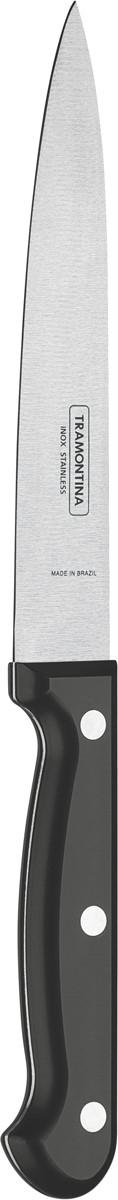 Нож универсальный Tramontina Ultracorte, цвет: черный, длина лезвия 15 см23860/106-TRБлагодаря уникальному методу закалки в несколько этапов:- термическая закалка от + 850°C до + 1 060°C; - охлаждение системой вентиляции до +350°C; - промораживание при -80°C в течение 30 минут; - нагревание газом от +250°C до +310°C сталь приобретает особую пластичность, коррозийно и жаростойкость, сохраняя твердость порядка 53 единиц по шкале Роквелла. Как результат, ножи TRAMONTINA требуют более редкой правки и заточки, что обеспечивает более долгий срок службы по сравнению с ножами из аналогичной стали других производителей. Рукоятки серии Ultracorte выполнены из полипропилена с 45% карбоната и нетоксичным противомикробным покрытием Microban , эффективно препятствующим размножению бактерий и сохраняющим свои свойства даже в случае механического повреждения 24 часа в сутки. Гарантия от производственного брака на ножи серии Ultracorte 5 лет!Материал лезвия: нержавеющая сталь AISI 420Материал рукоятки: полипропилен с 45% содержанием карбоната и противомикробной защитой Microban Длина лезвия: 15 смМожно мыть в посудомоечной машине: даСтрана производства: Бразилия