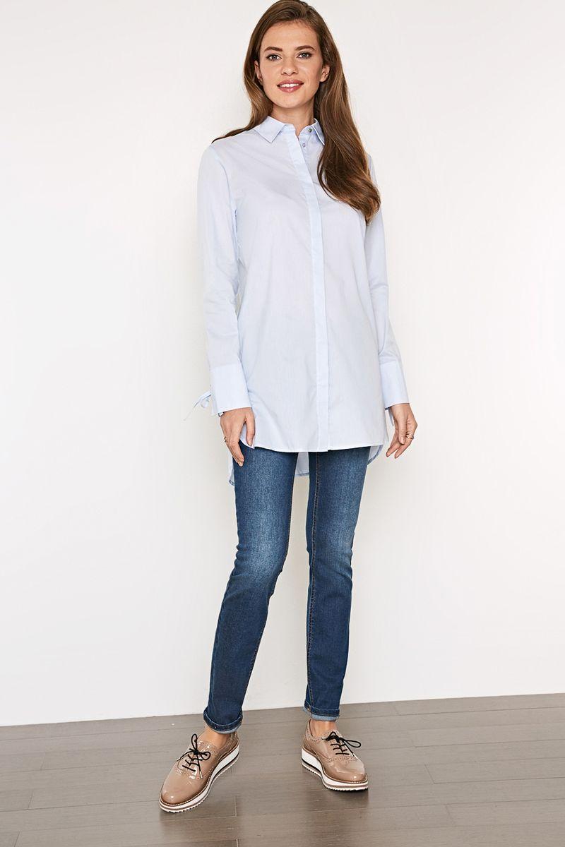 Блузка женская Concept Club Pela, цвет: голубой. 10200260212_400. Размер S (44)10200260212_400Стильная удлиненная блузка, выполненная из комбинированного материала, отлично дополнит ваш образ. Модель с длинными рукавами и отложным воротником спереди застегивается на пуговицы, скрытые планкой.