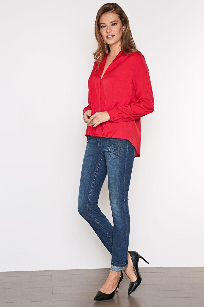 Блузка женская Concept Club Flux, цвет: бордовый. 10200260217_1600. Размер M (46)10200260217_1600Стильная блузка, выполненная из 100% полиэстера, отлично дополнит ваш образ. Модель свободного кроя с длинными рукавами и V-образным вырезом горловины.
