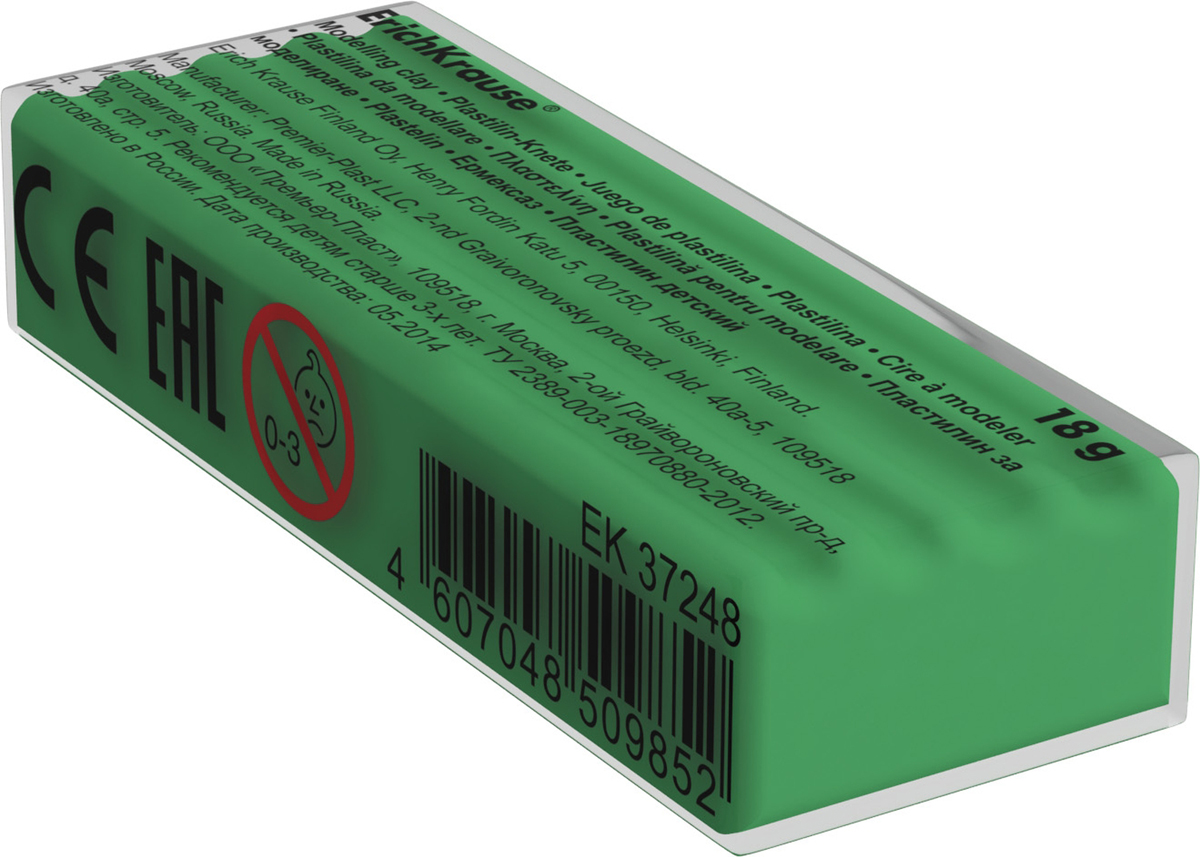 Erich Krause Пластилин цвет светло-зеленый37260Классический школьный пластилин производится на основе безопасных компонентов. Сохраняет свою форму, не застывает на воздухе. Цветовая палитра содержит яркие, насыщенные цвета, которые хорошо смешиваются между собой. Разноцветные брусочки классического пластилина весом 18г имеют индивидуальную упаковку. Теперь можно приобрести столько пластилина нужного цвета, сколько необходимо для осуществления любой творческой задумки.