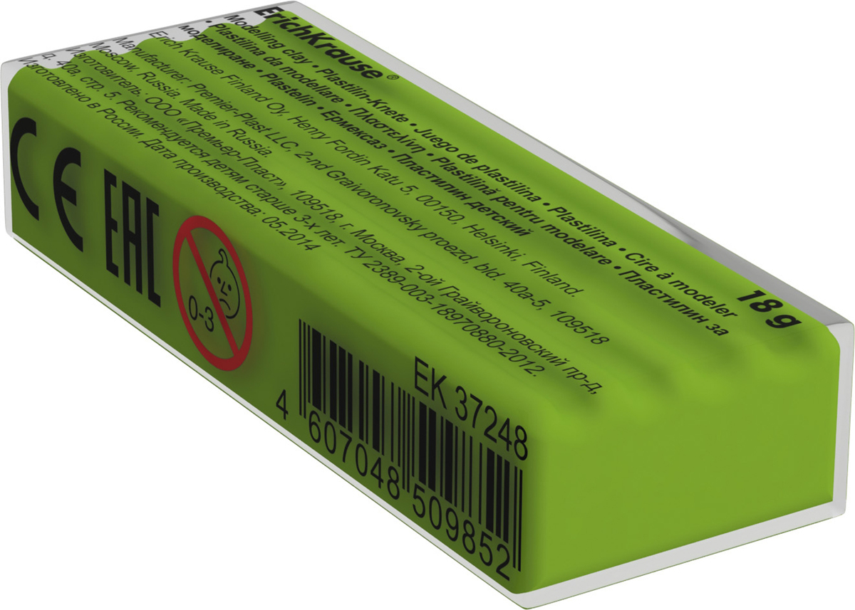 Erich Krause Пластилин цвет салатовый37261Классический школьный пластилин производится на основе безопасных компонентов. Сохраняет свою форму, не застывает на воздухе. Цветовая палитра содержит яркие, насыщенные цвета, которые хорошо смешиваются между собой. Разноцветные брусочки классиче ского пластилина весом 18г имеют индивидуальную упаковку со штрихкодом. Теперь можно приобрести столько пластилина нужного цвета, сколько необходимо для осуществления любой творческой задумки.