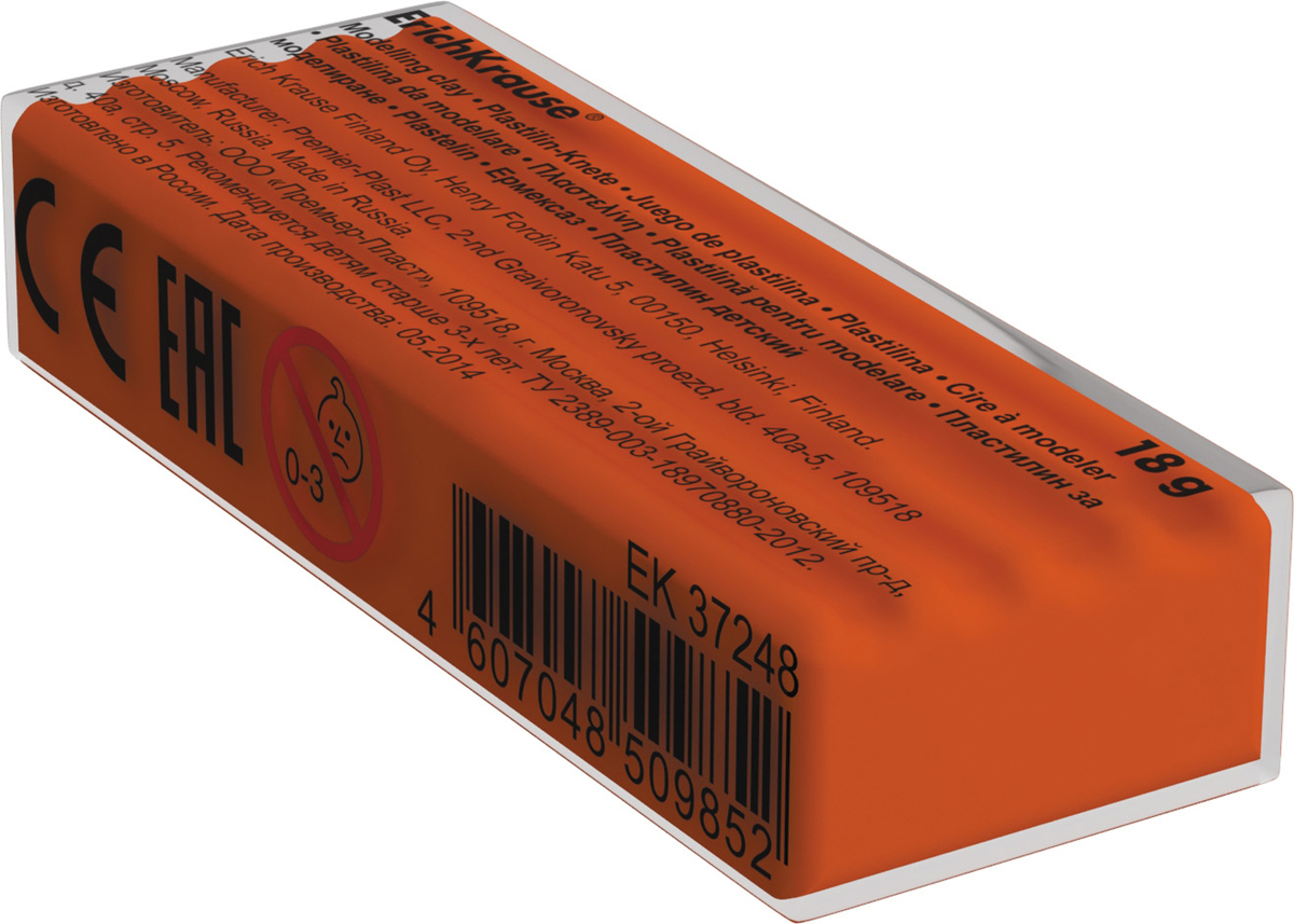 Erich Krause Пластилин цвет ярко-оранжевый37269Классический школьный пластилин производится на основе безопасных компонентов. Сохраняет свою форму, не застывает на воздухе. Цветовая палитра содержит яркие, насыщенные цвета, которые хорошо смешиваются между собой. Разноцветные брусочки классиче ского пластилина весом 18г имеют индивидуальную упаковку со штрихкодом. Neonовые цвета светятся под действием ультрафиолетовой лампы. Для получения новых оттенков все цвета хорошо смешиваются.