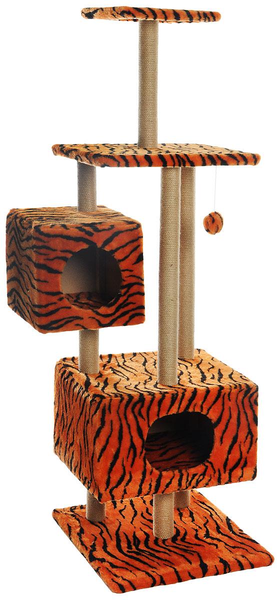 Домик-когтеточка  Меридиан , квадратный, с площадкой и полкой, цвет: коричневый, черный, 52 х 52 х 166 см - Когтеточки и игровые комплексы