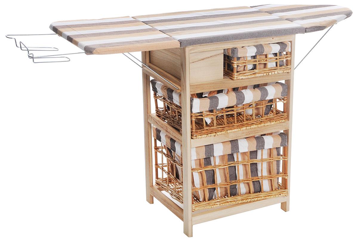 """Гладильный комод """"He Wang"""" выполнен из высококачественной древесины-павловния и  текстиля. Это очень удобное и практичное сочетание комода и гладильной доски в одном  предмете мебели. Гладильная доска складывается (опускаются начало и конец). Изделие  оснащено 3 съемными корзинами, предназначенными для хранения белья. Корзины изготовлены  из плетеного материала и дополнены контрастным текстилем.  На конце гладильной доски  расположена стальная подставка для утюга.  Размер комода (с разложенной гладильной доской): 137 x 35 x 82 см. Размер комода (со сложенной гладильной доской): 58 х 35 х 82 см. Размеры корзин для белья: 29,5 x 29 x 12 см; 48 x 29 x 16 см; 48 x 29 x 27 см."""