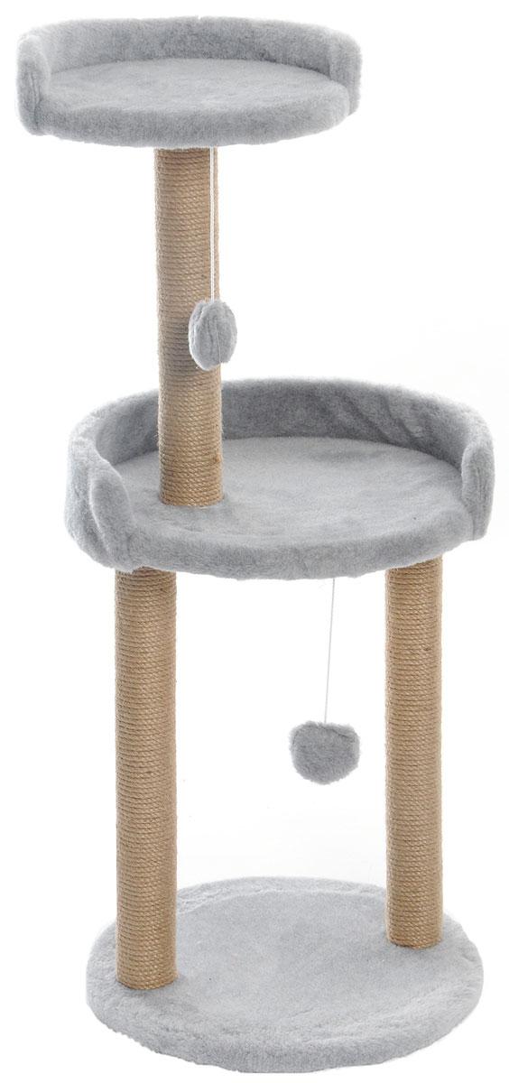 Когтеточка  Меридиан , с игрушкой и площадкой, цвет: светло-серый, 43 х 43 х 100 см - Когтеточки и игровые комплексы