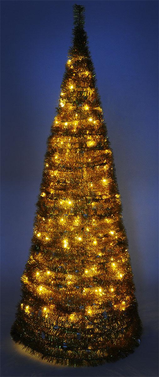 Светодиодная Елка из мишуры применяется для украшения помещений, витрин и других объектов. Используется внутри помещений.   Высота фигуры: 2,1 м.Цвет свечения: теплый белый.  Цвет елки: золотой.