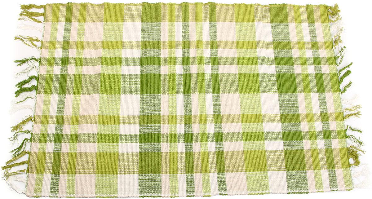 Самотканый хлопковый коврик ручной работы с кистями в цветную контрастную клетку.