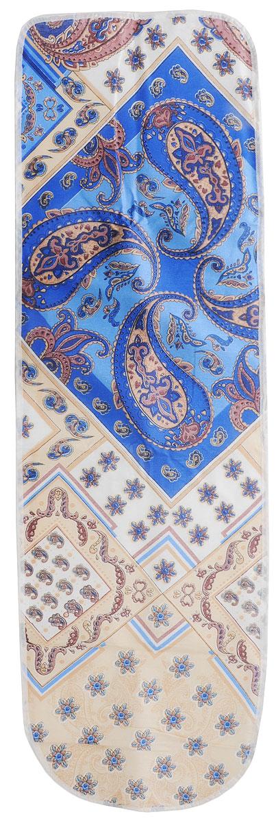 Чехол для гладильной доски Eva, с поролоном, цвет: голубой, синий, белый, 120 х 38 смЕ13*_голубой, синий, белыйЧехол для гладильной доски Eva выполнен из хлопчатобумажной ткани и оснащен подкладкой из пенополиуретана. Изделие предназначено для защиты или замены изношенного покрытия гладильной доски. Благодаря удобной системе фиксации, легко крепится. Этот качественный чехол обеспечит вам легкое глажение. Размер чехла: 120 x 38 см. Максимальный размер доски: 112 x 32 см.