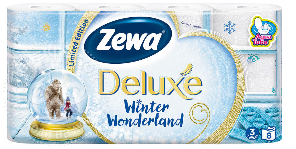 Бумага туалетная Zewa Deluxe. Winter Wonderland, 3 слоя, 8 рулоновУТ000046153Подарите себе удовольствие от ежедневного ухода за собой. Белая 3-х слойная туалетная бумага без аромата Zewa Deluxe. Winter Wonderland со смываемой втулкой Aqua Tube и новыми впитывающими подушечками деликатно очищает и нежно заботится о вашей коже. Мягкость, забота, комфорт – вашей коже это понравится!Уважаемые клиенты! Обращаем ваше внимание на то, что упаковка может иметь несколько видов дизайна. Поставка осуществляется в зависимости от наличия на складе.