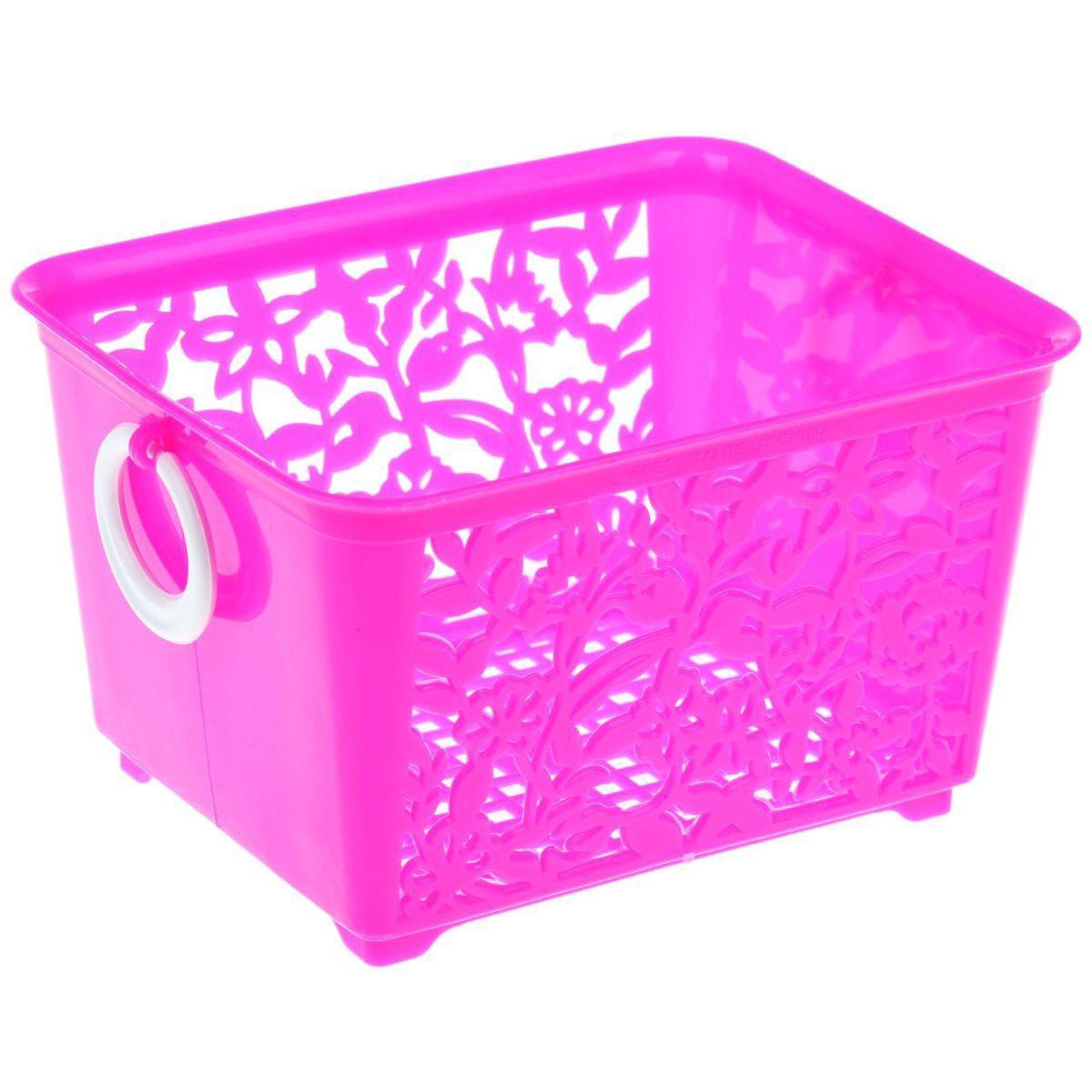 Корзина для мелочей Sima-land, цвет: малиновый, 14 х 11,5 х 8,5 см184975Корзина Sima-land, изготовленная из пластика, предназначена для хранения мелочей в ванной, на кухне или гараже. Позволяет хранить мелкие вещи, исключая возможность их потери. Корзина с двух сторон декорирована резным узором в виде цветов и дополнена решетчатым дном. Имеет две удобные ручки.Размер корзинки: 14 х 11,5 х 8 см.