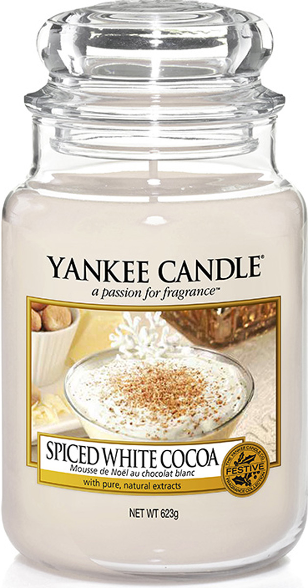Свеча ароматизированная Yankee Candle Spiced white сocoa, высота 16,8 см1513569EТеплое и восхитительное какао, покрытое слоем взбитых сливок и посыпанное мускатным орехом.Верхняя нота: Белое какао Средняя нота: Соленая Карамель, Сладкий крем, Мускатный орех Базовая нота: Ирис