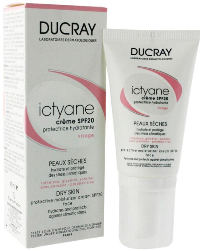 Ducray Иктиан Крем защитный увлажняющий SPF 20, 40 млC46711Ducray Ictyane Creme Hydratante Protectrice Visage SPF20 обеспечивает интенсивное увлажнение в течение 48 часов, защищая от обезвоживания и предупреждая фотостарения. Повышает эластичность и мягкость кожи, снижают повышенную реактивность и обновляют защитный слой.