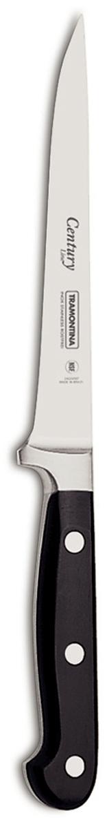 Процесс производства ножей Century состоит из 37 этапов, включая уникальный метод закалки в несколько этапов и ковку стали в штампах: - Заготовка из высокоуглеродистой нержавеющей стали DIN1.4110 с добавлением молибдена - Ковка в штампе и формирование шейки ножа - Закаливание в специальной печи (примерно + 1.060°C)  - Охлаждение системой вентиляции до +350°C - Промораживание (-80°C) на 30 минут - Нагревание газом (+250°C) (получена твердость 56-58 единиц по шкале Роквелла) - Формирование клинка (конусное) - Поликарбонат в горячем виде наливается на ручку, что гарантирует отсутствие зазоров между ручкой и клинком - Отделка рукоятки и шейки ножа - Финальная заточка лезвия - Лазерная штамповка товарного знака TRAMONTINA  Сталь приобретает особую пластичность, коррозийно и жаростойкость, сохраняя твердость порядка 58 единиц по шкале Роквелла. Как результат, ножи TRAMONTINA требуют более редкой правки и заточки, что обеспечивает более долгий срок службы по сравнению с ножами из аналогичной стали других производителей.  Каждый этап производства тщательно контролируется - от выбора материала до завершающего штриха, поэтому каждый нож Century от TRAMONTINA уникален.  Рукоятки серии Century выполнены из поликарбоната, более долговечного и надежного материала, чем распространенный бакелит. Выдерживают температуру до 200°C. Гарантирует высокую прочность, устойчивость и безопасность.  Гарантия от производственного брака на ножи серии Century 25 лет! Индивидуальная подарочная упаковка.  Материал лезвия: высокоуглеродистая сталь DIN 1.4110 с добавлением молибдена Материал рукоятки: поликарбонат с 30% содержанием стекловолокна Длина лезвия: 15 см Можно мыть в посудомоечной машине: да Страна производства: Бразилия