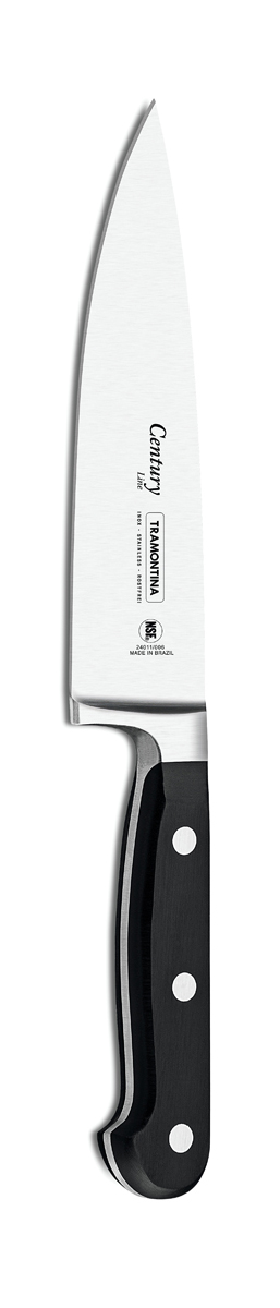 Нож поварской Tramontina Century Line, цвет: черный, длина лезвия 15 см24011/106-TRПроцесс производства ножей Century состоит из 37 этапов, включая уникальный метод закалки в несколько этапов и ковку стали в штампах:- Заготовка из высокоуглеродистой нержавеющей стали DIN1.4110 с добавлением молибдена- Ковка в штампе и формирование шейки ножа- Закаливание в специальной печи (примерно + 1.060°C) - Охлаждение системой вентиляции до +350°C- Промораживание (-80°C) на 30 минут- Нагревание газом (+250°C) (получена твердость 56-58 единиц по шкале Роквелла)- Формирование клинка (конусное)- Поликарбонат в горячем виде наливается на ручку, что гарантирует отсутствие зазоров между ручкой и клинком- Отделка рукоятки и шейки ножа- Финальная заточка лезвия- Лазерная штамповка товарного знака TRAMONTINAСталь приобретает особую пластичность, коррозийно и жаростойкость, сохраняя твердость порядка 58 единиц по шкале Роквелла. Как результат, ножи TRAMONTINA требуют более редкой правки и заточки, что обеспечивает более долгий срок службы по сравнению с ножами из аналогичной стали других производителей.Каждый этап производства тщательно контролируется - от выбора материала до завершающего штриха, поэтому каждый нож Century от TRAMONTINA уникален.Рукоятки серии Century выполнены из поликарбоната, более долговечного и надежного материала, чем распространенный бакелит. Выдерживают температуру до 200°C. Гарантирует высокую прочность, устойчивость и безопасность.Гарантия от производственного брака на ножи серии Century 25 лет!Индивидуальная подарочная упаковка.Материал лезвия: высокоуглеродистая сталь DIN 1.4110 с добавлением молибденаМатериал рукоятки: поликарбонат с 30% содержанием стекловолокнаДлина лезвия: 15 смМожно мыть в посудомоечной машине: даСтрана производства: Бразилия
