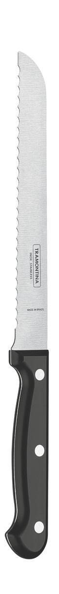 Нож для хлеба Tramontina Ultracorte, цвет: черный, длина лезвия 17,5 см23859/107-TRБлагодаря уникальному методу закалки в несколько этапов:- термическая закалка от + 850°C до + 1 060°C; - охлаждение системой вентиляции до +350°C; - промораживание при -80°C в течение 30 минут; - нагревание газом от +250°C до +310°C сталь приобретает особую пластичность, коррозийно и жаростойкость, сохраняя твердость порядка 53 единиц по шкале Роквелла. Как результат, ножи TRAMONTINA требуют более редкой правки и заточки, что обеспечивает более долгий срок службы по сравнению с ножами из аналогичной стали других производителей. Волнистое острие лезвия ножа не потребует постоянной заточки и даст возможность быстро и качественно порезать продукты.Рукоятки серии Ultracorte выполнены из полипропилена с 45% карбоната и нетоксичным противомикробным покрытием Microban , эффективно препятствующим размножению бактерий и сохраняющим свои свойства даже в случае механического повреждения 24 часа в сутки. Гарантия от производственного брака на ножи серии Ultracorte 5 лет!Материал лезвия: нержавеющая сталь AISI 420Материал рукоятки: полипропилен с 45% содержанием карбоната и противомикробной защитой Microban Длина лезвия: 17,5 смМожно мыть в посудомоечной машине: даСтрана производства: Бразилия