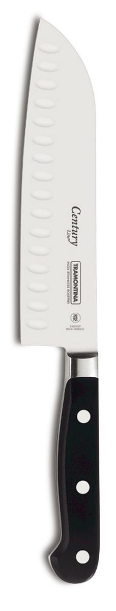 Нож поварской Tramontina Century Line, цвет: черный, длина лезвия 17,5 см. 24020/107-TR24020/107-TRПроцесс производства ножей Century состоит из 37 этапов, включая уникальный метод закалки в несколько этапов и ковку стали в штампах:- Заготовка из высокоуглеродистой нержавеющей стали DIN1.4110 с добавлением молибдена- Ковка в штампе и формирование шейки ножа- Закаливание в специальной печи (примерно + 1.060°C) - Охлаждение системой вентиляции до +350°C- Промораживание (-80°C) на 30 минут- Нагревание газом (+250°C) (получена твердость 56-58 единиц по шкале Роквелла)- Формирование клинка (конусное)- Поликарбонат в горячем виде наливается на ручку, что гарантирует отсутствие зазоров между ручкой и клинком- Отделка рукоятки и шейки ножа- Финальная заточка лезвия- Лазерная штамповка товарного знака TRAMONTINAСталь приобретает особую пластичность, коррозийно и жаростойкость, сохраняя твердость порядка 58 единиц по шкале Роквелла. Как результат, ножи TRAMONTINA требуют более редкой правки и заточки, что обеспечивает более долгий срок службы по сравнению с ножами из аналогичной стали других производителей.Каждый этап производства тщательно контролируется - от выбора материала до завершающего штриха, поэтому каждый нож Century от TRAMONTINA уникален.Рукоятки серии Century выполнены из поликарбоната, более долговечного и надежного материала, чем распространенный бакелит. Выдерживают температуру до 200°C. Гарантирует высокую прочность, устойчивость и безопасность.Гарантия от производственного брака на ножи серии Century 25 лет!Индивидуальная подарочная упаковка.Материал лезвия: высокоуглеродистая сталь DIN 1.4110 с добавлением молибденаМатериал рукоятки: поликарбонат с 30% содержанием стекловолокнаДлина лезвия: 17,5 смМожно мыть в посудомоечной машине: даСтрана производства: Бразилия
