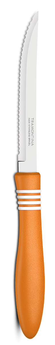 Нож для мяса Tramontina Cor&Cor, цвет: оранжевый, длина лезвия 12,5 см, 2 шт23450/245-TRБлагодаря уникальному методу закалки в несколько этапов: - термическая закалка от + 850°C до + 1 060°C;- охлаждение системой вентиляции до +350°C;- промораживание при -80°C в течение 30 минут;- нагревание газом от +250°C до +310°Cсталь приобретает особую пластичность, коррозийно и жаростойкость, сохраняя твердость порядка 53 единиц по шкале Роквелла. Как результат, ножи TRAMONTINA требуют более редкой правки и заточки, что обеспечивает более долгий срок службы по сравнению с ножами из аналогичной стали других производителей. Волнистое острие лезвия ножа не потребует постоянной заточки и даст возможность быстро и качественно порезать продукты, даже такие, как помидоры - с мягкой сердцевиной и твердой кожицей.Рукоятки серии Cor&Cor выполнены из полипропилена, долговечны, выдерживают температуру до 130°C. Гарантия от производственного брака на ножи серии Cor&Cor 5 лет!Материал лезвия: нержавеющая сталь AISI 420 Материал рукоятки: полипропилен Длина лезвия: 12,5 см Количество ножей: 2 шт Страна производства: Бразилия