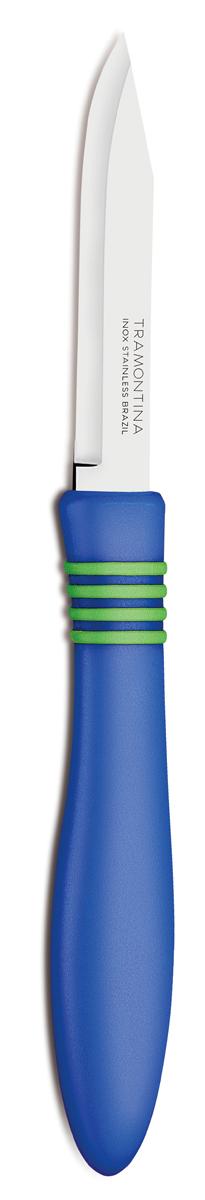 Нож для очистки овощей Tramontina Cor&Cor, цвет: синий, длина лезвия 7,5 см, 2 шт23461/213-TRБлагодаря уникальному методу закалки в несколько этапов: - термическая закалка от + 850°C до + 1 060°C;- охлаждение системой вентиляции до +350°C;- промораживание при -80°C в течение 30 минут;- нагревание газом от +250°C до +310°Cсталь приобретает особую пластичность, коррозийно и жаростойкость, сохраняя твердость порядка 53 единиц по шкале Роквелла. Как результат, ножи TRAMONTINA требуют более редкой правки и заточки, что обеспечивает более долгий срок службы по сравнению с ножами из аналогичной стали других производителей. Рукоятки серии Cor&Cor выполнены из полипропилена, долговечны, выдерживают температуру до 130°C. Гарантия от производственного брака на ножи серии Cor&Cor 5 лет!Материал лезвия: нержавеющая сталь AISI 420 Материал рукоятки: полипропилен Длина лезвия: 7,5 см Количество ножей: 2 шт Страна производства: Бразилия