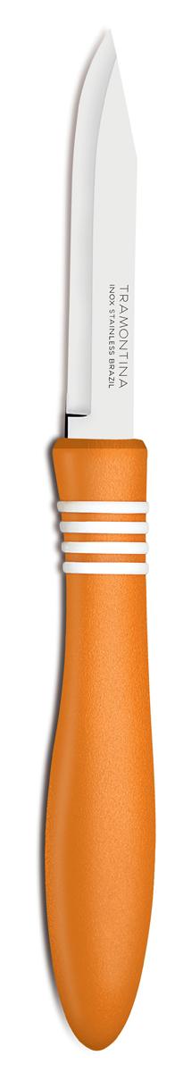 Нож для очистки овощей Tramontina Cor&Cor, цвет: оранжевый, длина лезвия 7,5 см, 2 шт23461/243-TRБлагодаря уникальному методу закалки в несколько этапов:- термическая закалка от + 850°C до + 1 060°C; - охлаждение системой вентиляции до +350°C; - промораживание при -80°C в течение 30 минут; - нагревание газом от +250°C до +310°C сталь приобретает особую пластичность, коррозийно и жаростойкость, сохраняя твердость порядка 53 единиц по шкале Роквелла. Как результат, ножи TRAMONTINA требуют более редкой правки и заточки, что обеспечивает более долгий срок службы по сравнению с ножами из аналогичной стали других производителей. Рукоятки серии Cor&Cor выполнены из полипропилена, долговечны, выдерживают температуру до 130°C. Гарантия от производственного брака на ножи серии Cor&Cor 5 лет!Материал лезвия: нержавеющая сталь AISI 420Материал рукоятки: полипропиленДлина лезвия: 7,5 смКоличество ножей: 2 штСтрана производства: Бразилия