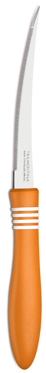 Нож для очистки овощей и фруктов Tramontina Cor&Cor, цвет: оранжевый, длина лезвия 12,5 см, 2 шт23462/245-TRНож TRAMONTINA требует более редкой правки и заточки, что обеспечивает более долгий срок службы по сравнению с ножами из аналогичной стали других производителей, благодаря уникальному методу закалки в несколько этапов: - термическая закалка от + 850°C до + 1 060°C;- охлаждение системой вентиляции до +350°C;- промораживание при -80°C в течение 30 минут;- нагревание газом от +250°C до +310°CСталь приобретает особую пластичность, коррозийно и жаростойкость, сохраняя твердость порядка 53 единиц по шкале Роквелла.Лезвие с микрозубчиками не потребует заточки и даст возможность быстро и качественно порезать продукты, даже такие, как помидоры - с мягкой сердцевиной и твердой кожицей.Рукоятки серии Cor&Cor выполнены из полипропилена, долговечны, выдерживают температуру до 130°C. Гарантия от производственного брака на ножи серии Cor&Cor 5 лет!Материал лезвия: нержавеющая сталь AISI 420 Материал рукоятки: полипропилен Длина лезвия: 12,5 см Количество ножей: 2 шт Страна производства: Бразилия