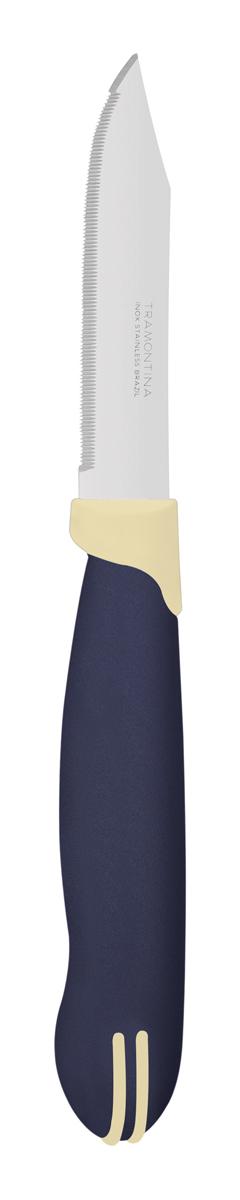 Набор ножей для очистки овощей Tramontina Multicolor, цвет: синий, длина лезвия 7,5 см, 2 шт. 23528/213-TR23528/213-TRБлагодаря уникальному методу закалки в несколько этапов: - термическая закалка от + 850°C до + 1 060°C;- охлаждение системой вентиляции до +350°C;- промораживание при -80°C в течение 30 минут;- нагревание газом от +250°C до +310°Cсталь приобретает особую пластичность, коррозийно и жаростойкость, сохраняя твердость порядка 53 единиц по шкале Роквелла. Как результат, ножи TRAMONTINA требуют более редкой правки и заточки, что обеспечивает более долгий срок службы по сравнению с ножами из аналогичной стали других производителей. Лезвие с микрозубчиками не потребует заточки и даст возможность быстро и качественно порезать продукты, даже такие, как помидоры - с мягкой сердцевиной и твердой кожицей.Рукоятки серии Multicolor выполнены из полипропилена, долговечны, выдерживают температуру до 130°C. Гарантия от производственного брака на ножи серии Multicolor 3 года!Материал лезвия: нержавеющая сталь AISI 420 Материал рукоятки: полипропилен Длина лезвия: 7,5 см Количество ножей: 2 шт Страна производства: Бразилия