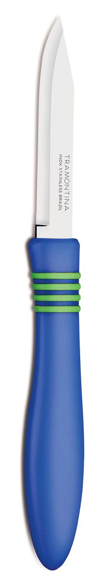 Нож для очистки овощей Tramontina Cor&Cor, цвет: синий, длина лезвия 7,5 см23461/913-TRБлагодаря уникальному методу закалки в несколько этапов:- термическая закалка от + 850°C до + 1 060°C; - охлаждение системой вентиляции до +350°C; - промораживание при -80°C в течение 30 минут; - нагревание газом от +250°C до +310°C сталь приобретает особую пластичность, коррозийно и жаростойкость, сохраняя твердость порядка 53 единиц по шкале Роквелла. Как результат, ножи TRAMONTINA требуют более редкой правки и заточки, что обеспечивает более долгий срок службы по сравнению с ножами из аналогичной стали других производителей. Рукоятки серии Cor&Cor выполнены из полипропилена, долговечны, выдерживают температуру до 130°C. Гарантия от производственного брака на ножи серии Cor&Cor 5 лет!Материал лезвия: нержавеющая сталь AISI 420Материал рукоятки: полипропиленДлина лезвия: 7,5 смСтрана производства: Бразилия