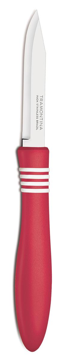 Нож для очистки овощей Tramontina Cor&Cor, цвет: красный, длина лезвия 7,5 см, 2 шт23461/273-TRБлагодаря уникальному методу закалки в несколько этапов:- термическая закалка от + 850°C до + 1 060°C; - охлаждение системой вентиляции до +350°C; - промораживание при -80°C в течение 30 минут; - нагревание газом от +250°C до +310°C сталь приобретает особую пластичность, коррозийно и жаростойкость, сохраняя твердость порядка 53 единиц по шкале Роквелла. Как результат, ножи TRAMONTINA требуют более редкой правки и заточки, что обеспечивает более долгий срок службы по сравнению с ножами из аналогичной стали других производителей. Рукоятки серии Cor&Cor выполнены из полипропилена, долговечны, выдерживают температуру до 130°C. Гарантия от производственного брака на ножи серии Cor&Cor 5 лет!Материал лезвия: нержавеющая сталь AISI 420Материал рукоятки: полипропиленДлина лезвия: 7,5 смКоличество ножей: 2 штСтрана производства: Бразилия