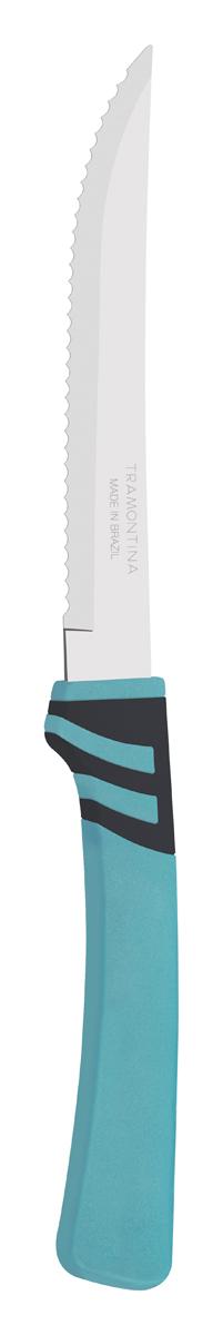 Нож для мяса Tramontina Amalfi, цвет: бирюзовый, длина лезвия 12,5 см23470/115-TRБлагодаря уникальному методу закалки в несколько этапов:- термическая закалка от + 850°C до + 1 060°C; - охлаждение системой вентиляции до +350°C; - промораживание при -80°C в течение 30 минут; - нагревание газом от +250°C до +310°C сталь приобретает особую пластичность, коррозийно и жаростойкость, сохраняя твердость порядка 53 единиц по шкале Роквелла. Как результат, ножи TRAMONTINA требуют более редкой правки и заточки, что обеспечивает более долгий срок службы по сравнению с ножами из аналогичной стали других производителей. Волнистое острие лезвия ножа не потребует постоянной заточки и даст возможность быстро и качественно порезать продукты, даже такие, как помидоры - с мягкой сердцевиной и твердой кожицей.Рукоятки серии Amalfi выполнены из полипропилена, долговечны, выдерживают температуру до 130°C. Гарантия от производственного брака на ножи серии Amalfi 3 года!Материал лезвия: нержавеющая сталь AISI 420Материал рукоятки: полипропиленДлина лезвия: 12,5 смСтрана производства: Бразилия