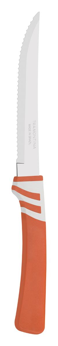 Нож для мяса Tramontina Amalfi, цвет: оранжевый, длина лезвия 12,5 см23470/145-TRБлагодаря уникальному методу закалки в несколько этапов:- термическая закалка от + 850°C до + 1 060°C; - охлаждение системой вентиляции до +350°C; - промораживание при -80°C в течение 30 минут; - нагревание газом от +250°C до +310°C сталь приобретает особую пластичность, коррозийно и жаростойкость, сохраняя твердость порядка 53 единиц по шкале Роквелла. Как результат, ножи TRAMONTINA требуют более редкой правки и заточки, что обеспечивает более долгий срок службы по сравнению с ножами из аналогичной стали других производителей. Волнистое острие лезвия ножа не потребует постоянной заточки и даст возможность быстро и качественно порезать продукты, даже такие, как помидоры - с мягкой сердцевиной и твердой кожицей.Рукоятки серии Amalfi выполнены из полипропилена, долговечны, выдерживают температуру до 130°C. Гарантия от производственного брака на ножи серии Amalfi 3 года!Материал лезвия: нержавеющая сталь AISI 420Материал рукоятки: полипропиленДлина лезвия: 12,5 смСтрана производства: Бразилия