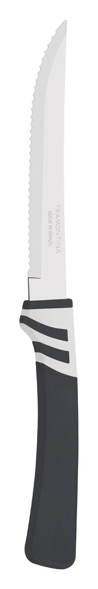Нож для мяса Tramontina Amalfi, цвет: черный, длина лезвия 12,5 см23470/165-TRБлагодаря уникальному методу закалки в несколько этапов:- термическая закалка от + 850°C до + 1 060°C; - охлаждение системой вентиляции до +350°C; - промораживание при -80°C в течение 30 минут; - нагревание газом от +250°C до +310°C сталь приобретает особую пластичность, коррозийно и жаростойкость, сохраняя твердость порядка 53 единиц по шкале Роквелла. Как результат, ножи TRAMONTINA требуют более редкой правки и заточки, что обеспечивает более долгий срок службы по сравнению с ножами из аналогичной стали других производителей. Волнистое острие лезвия ножа не потребует постоянной заточки и даст возможность быстро и качественно порезать продукты, даже такие, как помидоры - с мягкой сердцевиной и твердой кожицей.Рукоятки серии Amalfi выполнены из полипропилена, долговечны, выдерживают температуру до 130°C. Гарантия от производственного брака на ножи серии Amalfi 3 года!Материал лезвия: нержавеющая сталь AISI 420Материал рукоятки: полипропиленДлина лезвия: 12,5 смСтрана производства: Бразилия