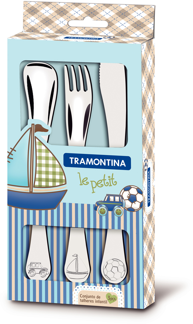 Набор детских столовых приборов Tramontina Le Petit, 3 предмета. 66973/000-TR66973/000-TRДетский набор Tramontina - столовые приборы, изготовленные из высококачественной нержавеющей стали с зеркальной полировкой, созданы специально для малышей и легко привлекают их внимание на столе.Столовые вилки, ножи и ложки благодаря толщине нержавеющей стали отличаются высокой износостойкостью. Ручки столовых приборов оформлены рельефными изображениями, которые, несомненно, порадуют любого малыша.Эргономичная форма, специально созданная для поощрения и развития детей.Долго сохраняют блеск.В детских столовых приборах Tramontina особое внимание уделяется безопасности - что бы избежать риска пораниться, все края столовых приборов закруглены.В составе набора:- ложка- вилка- ножикЯркая индивидуальная упаковкаМатериал: нержавеющая стальТолщина стали: 1,2 ммМожно мыть в посудомоечной машине: даСтрана производства: Бразилия
