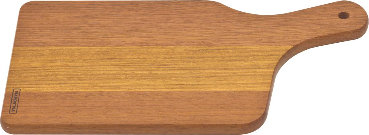 Доска разделочная Tramontina Tradicional, с ручкой, 38 х 19,5 х 1,8 см10030/070-TRРазделочная доска Tramontina Tradicional - доска из южноамериканского дерева высокой плотности Жатоба. Благодаря высокой плотностибразильской древесины разделочные доски Tramontina служат дольше изготовленных из евразийских пород деревьев - чем выше плотность, темдоска более прочная и меньше впитывает влагу. Плотность древесины Жатоба 930 кг/м3, что на треть больше чем у бамбука.Антибактериальная защита Microban препятствует распространению бактерий по деревянной поверхности. Изделия с подобной защитой болеегигиеничны и безопасны, так как Microban эффективна против более чем 100 бактерий, действует 24 часа в сутки 7 дней в неделю, не стираетсяводой и моющими средствами, сохраняя свои свойства даже в случае механического повреждения кроватного столика. Прекрасно подходят для нарезания продуктов и сервировки стола. Для досок Tramontina используется дерево из возобновляемых лесов. Толщина разделочной доски: 1,8 см.