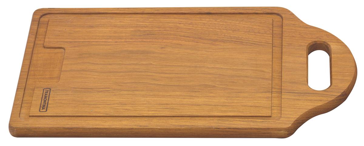 Доска разделочная Tramontina Tradicional, с ручкой, 36 х 20 х 1,5 см10035/070-TRРазделочная доска Tramontina Tradicional - доска из южноамериканского дерева высокой плотности Жатоба. Благодаря высокой плотности бразильской древесины разделочные доски Tramontina служат дольше изготовленных из евразийских пород деревьев - чем выше плотность, тем доска более прочная и меньше впитывает влагу. Плотность древесины Жатоба 930 кг/м3, что на треть больше чем у бамбука. Антибактериальная защита Microban препятствует распространению бактерий по деревянной поверхности. Изделия с подобной защитой более гигиеничны и безопасны, так как Microban эффективна против более чем 100 бактерий, действует 24 часа в сутки 7 дней в неделю, не стирается водой и моющими средствами, сохраняя свои свойства даже в случае механического повреждения кроватного столика. Прекрасно подходят для нарезания продуктов и сервировки стола. Для досок Tramontina используется дерево из возобновляемых лесов. Толщина разделочной доски: 1,5 см.