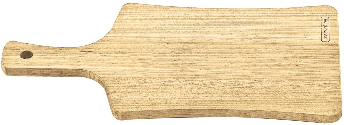 Доска разделочная Tramontina Delicate, с ручкой, 31,5 х 15,5 х 1 см10120/082-TRРазделочная доска Tramontina Delicate сделана из легкого светлого дерева высокой плотности Тауари или Бразильского дуба. В отличие от дуба, дерево Тауари имеет лучшие прочностные характеристики и большую стойкость к воздействию влаги, характерные для южноамериканских пород. Благодаря высокой плотности бразильской древесины разделочные доски Tramontina служат дольше изготовленных из евразийских пород деревьев - чем выше плотность, тем доска более прочная и меньше впитывает влагу. Плотность древесины Тауари 890 кг/м3, что почти на треть больше чем у распространенного бамбука. Легкие и практичные, они прекрасно подходят для нарезания продуктов и сервировки стола.Для досок Tramontina используется дерево из возобновляемых лесов.Толщина разделочной доски: 1 см.