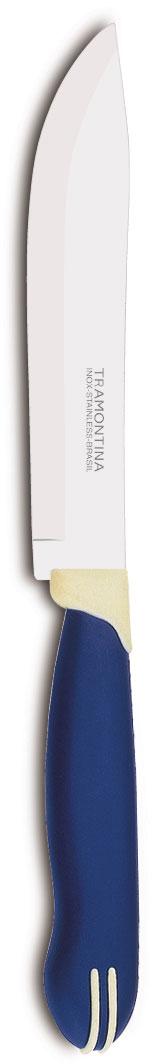 Нож для мяса Tramontina Multicolor, цвет: синий, длина лезвия 15 см23522/116-TRБлагодаря уникальному методу закалки в несколько этапов:- термическая закалка от + 850°C до + 1 060°C; - охлаждение системой вентиляции до +350°C; - промораживание при -80°C в течение 30 минут; - нагревание газом от +250°C до +310°C сталь приобретает особую пластичность, коррозийно и жаростойкость, сохраняя твердость порядка 53 единиц по шкале Роквелла. Как результат, ножи TRAMONTINA требуют более редкой правки и заточки, что обеспечивает более долгий срок службы по сравнению с ножами из аналогичной стали других производителей. Рукоятки серии Multicolor выполнены из полипропилена, долговечны, выдерживают температуру до 130°C. Гарантия от производственного брака на ножи серии Multicolor 3 года!Материал лезвия: нержавеющая сталь AISI 420Материал рукоятки: полипропиленДлина лезвия: 12,5 смСтрана производства: Бразилия