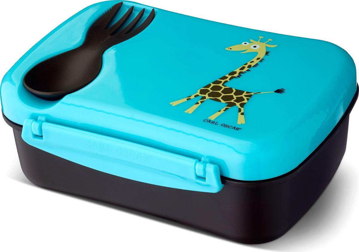 Ланч-бокс детский Carl Oscar Nice Box Giraffe, с охлаждающим элементом, цвет: бирюзовый, черный, 0,75 л106103Удобный и герметичный ланч-бокс Carl Oscar Nice Box Giraffe со съемным охлаждающим дискомна крышке идеален для школы, прогулок и путешествий. Подходит для свежих овощей, фруктов итоппингов. В комплект входит многофункциональный столовый приборCUTElery 3 в 1, который закрепляется на крышке и включает в себя ложку, вилку и ножик. Заморозьте охлаждающий диск, поместив его горизонтально в морозильную камеру на 6 и болеечасов. Прикрепите диск на крышку, чтобы продукты оставались охлажденными и свежими прикомнатной температуре в течение 5 часов. Ланч-бокс может использоваться и без охлаждающегодиска. Контейнер оформлен изображением животного.Ланч-бокс не содержит бисфенол А, фталаты и свинец, а в охлаждающем диске использовангель, в состав которого не входят токсичные вещества.