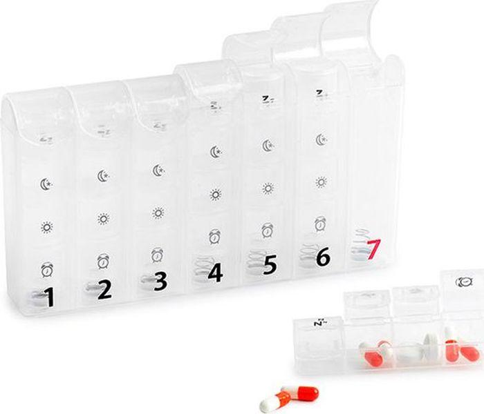 Таблетница Balvi 7 day, 19,6 х 3,8 х 11 см25623Теперь вы никогда не забудете принять свои витамины или лекарства, ведь уникальная таблетница Balvi 7 day напомнит вам о том, какие таблетки нужно принимать в определенный день недели и время суток. Таблетница имеет семь отделений на каждый день недели. Ежедневные отсеки, в свою очередь, состоят из четырех отсеков и отделяются от таблетницы, так что можно их по отдельности брать с собой. В отсеки можно поместить необходимое количество таблеток, предназначенных на сутки. Таблетница изготовлена из безвредного для здоровья пластика. Каждое отделение оснащено удобной крышкой, которую можно защелкнуть, чтобы до лекарств внутри не добрались дети. Корпус таблетницы полностью прозрачный, чтобы видеть, сколько капсул необходимо принять в определенный день недели. Также на корпусе имеются обозначения дней недели и времени суток. • Удобный аксессуар для точного приема таблеток, прописанных врачом• Изготовлена из прочного пластика• Семь отделений для лекарств на каждый день недели