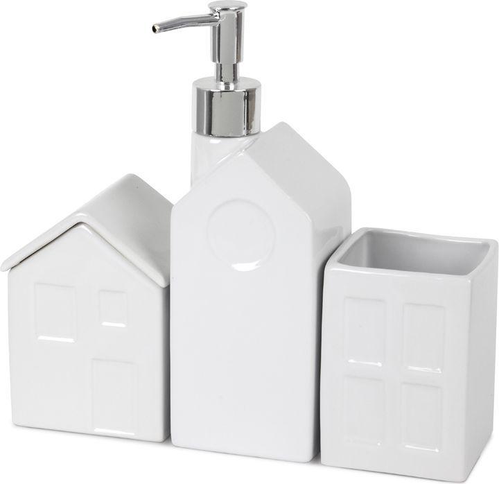 Набор для ванной комнаты Balvi La Ville, цвет: белый25871Уникальный набор ванных аксессуаров La Ville, состоящий из трех важных компонентов: емкости для жидкого мыла с дозатором, емкости для ватных шариков и стакана для зубных щеток. Вы можете использовать емкости также для других ванных принадлежностей, например, соли для ванной. Все три емкости сделаны из качественной керамики в виде забавных деревенских домиков, крыши которых служат крышками для емкостей. Этот оригинальный набор отлично впишется в интерьер любой ванной, что сделает его незаменимым подарком, который совершенно точно оценят ваши друзья. • Оригинальный дизайн емкостей в виде сельских домиков• Набор выполнен из качественной белоснежной керамики• Набор включает в себя емкость для жидкого мыла, емкость для ватных шариков и для зубных щеток