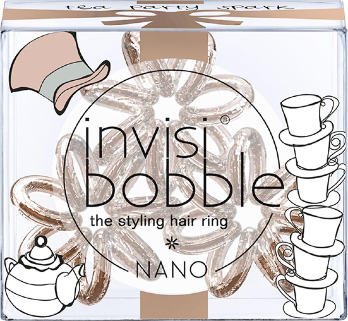 Invisibobble Резинка для волос Nano Tea Party Spark, 3 шт invisibobble резинка для волос бежевого цвета original queen of the jungle 3 шт резинка для волос бежевого цвета original queen of the jungle 3 шт 3 шт уп