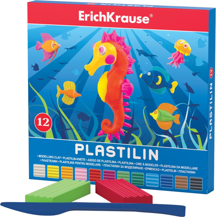 Erich Krause Пластилин 12 цветов 3690136901Классический школьный пластилин в удобной картонной коробочке. Сохраняет свою форму, не застывает на воздухе. Цветовая палитра содержит яркие, насыщенные цвета, которые хорошо смешиваются между собой. Брусочки классического пластилина весом 18 г упакованы в пленку. В каждой коробочке имеется стек для моделирования, с помощью которого ребенку будет удобно не только нарезать пластилин, но и наносить на поделки разнообразные узоры.
