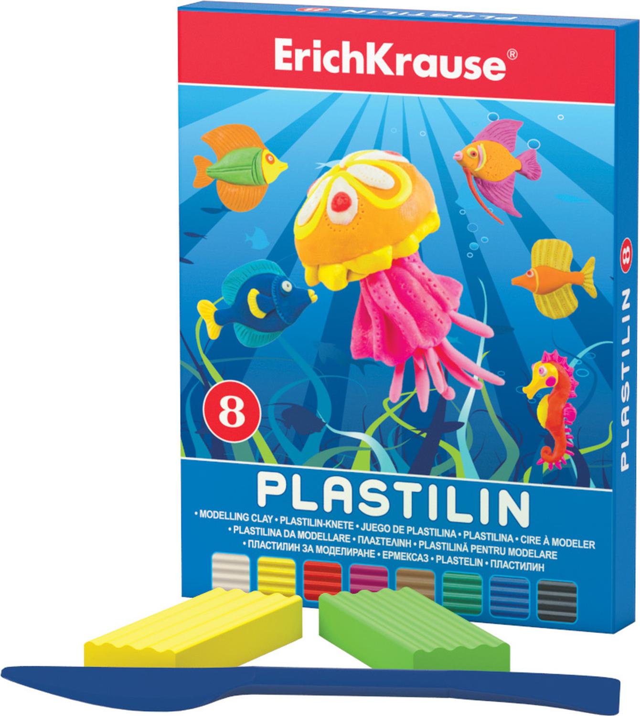 Erich Krause Пластилин 8 цветов 3690336903Классический школьный пластилин в удобной картонной коробочке. Сохраняет свою форму, не застывает на воздухе. Цветовая палитра содержит яркие, насыщенные цвета, которые хорошо смешиваются между собой. Брусочки классического пластилина весом 18 г упакованы в пленку. В каждой коробочке имеется стек для моделирования, с помощью которого ребенку будет удобно не только нарезать пластилин, но и наносить на поделки разнообразные узоры.