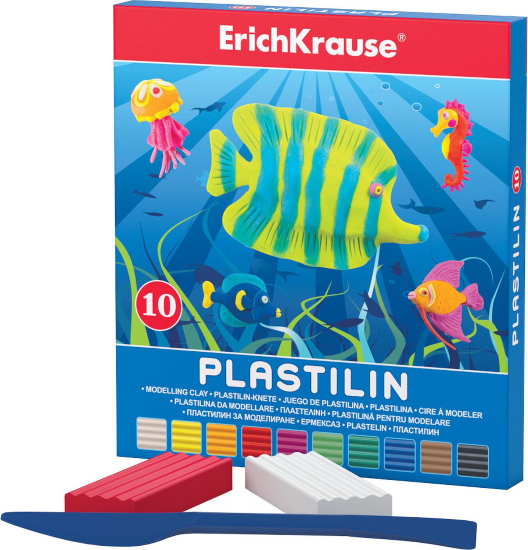 Erich Krause Пластилин 10 цветов 3690436904Классический школьный пластилин в удобной картонной коробочке. Сохраняет свою форму, не застывает на воздухе. Цветовая палитра содержит яркие, насыщенные цвета, которые хорошо смешиваются между собой. Брусочки классического пластилина весом 18 г упакованы в пленку. В каждой коробочке имеется стек для моделирования, с помощью которого ребенку будет удобно не только нарезать пластилин, но и наносить на поделки разнообразные узоры.