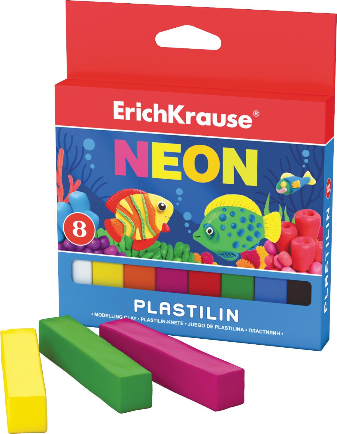 Erich Krause Пластилин Neon 8 цветов 3727337273Классический школьный пластилин производится на основе безопасных компонентов. Сохраняет свою форму, не застывает на воздухе. Цветовая палитра содержит яркие, насыщенные цвета, которые хорошо смешиваются между собой. Разноцветные брусочки классиче ского пластилина весом 18г имеют индивидуальную упаковку со штрихкодом. Neonовые цвета светятся под действием ультрафиолетовой лампы. Для получения новых оттенков все цвета хорошо смешиваются.