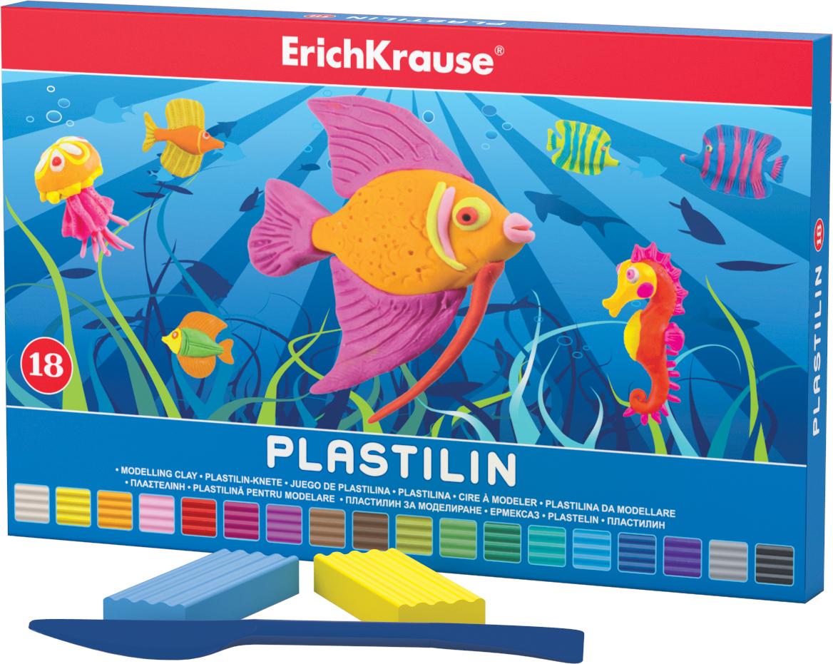 Erich Krause Пластилин 18 цветов 3690236902Классический школьный пластилин в удобной картонной коробочке. Сохраняет свою форму, не застывает на воздухе. Цветовая палитра содержит яркие, насыщенные цвета, которые хорошо смешиваются между собой. Брусочки классического пластилина весом 18 г упакованы в пленку. В каждой коробочке имеется стек для моделирования, с помощью которого ребенку будет удобно не только нарезать пластилин, но и наносить на поделки разнообразные узоры.