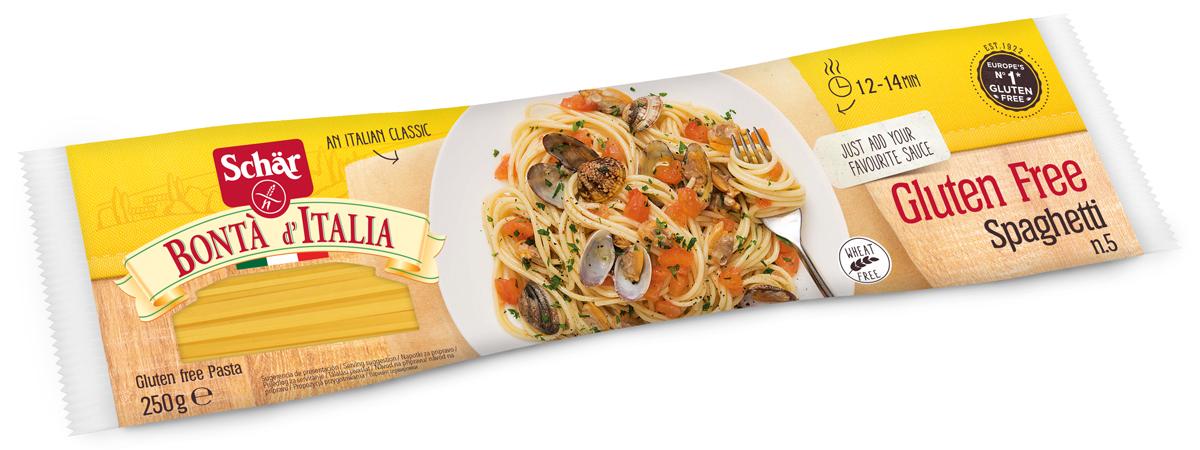 """Dr. Schar Spaghetti макаронные изделия спагетти, 250 г8008698010037Безглютеновые Spaghetti итальянской компании Dr.Schar – продукт от лидера европейского рынка по выпуску безглютеновых продуктов для повседневного питания больных целиакией. Продукт произведен из экологически чистого сырья, с соблюдением строгих технологических требований и экологических стандартов Европейского союза, отмечен международным значком """"Gluten free"""". Вермишель не содержит глютена, пшеничного крахмала, лактозы, молока, яиц и консервантов, имеет натуральный вкус, высокое содержание волокон, без ГМО. На 100г макарон 1л воды, 10г соли. В кипящую воду добавить соль. Аккуратно помешивая, добавить макароны. Варить до готовности на слабом огне, периодически помешивая. Откинуть на дуршлаг. Приятного аппетита!Уважаемые клиенты! Обращаем ваше внимание на то, что упаковка может иметь несколько видов дизайна. Поставка осуществляется в зависимости от наличия на складе.Лайфхаки по варке круп и пасты. Статья OZON Гид"""