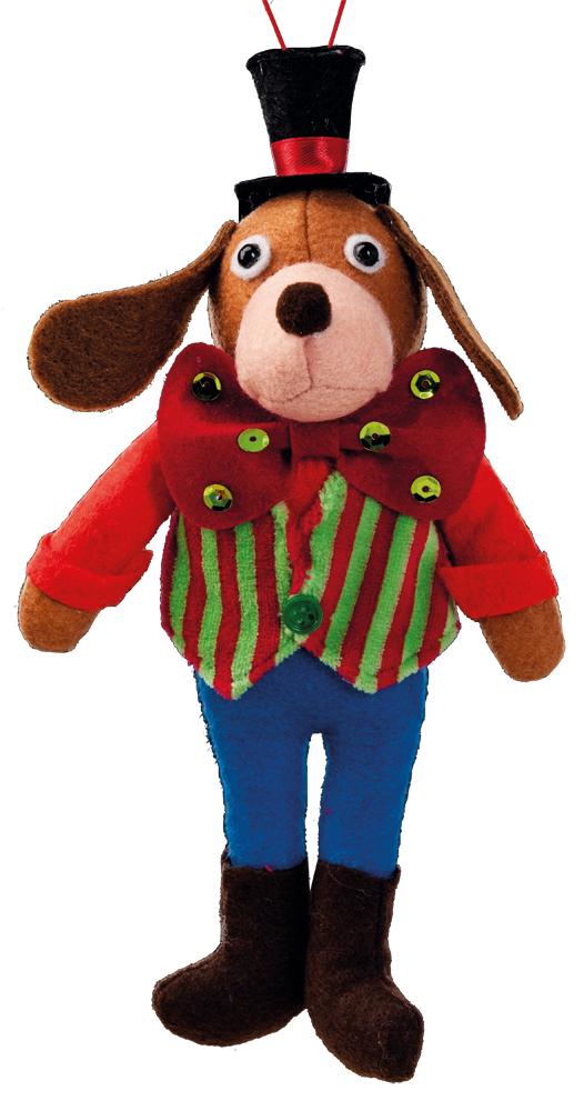 Украшение для интерьера новогоднее Erich Krause Костюм на ярмарку. Собака, 23,5 смN09265Мягкий и приятный на ощупь, зверек в цветном наряде, станет замечательным подарком или украшением праздничного интерьера.